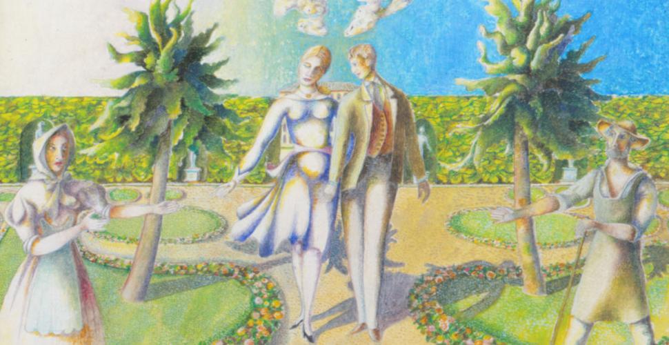 Albert Paris Gütersloh, Die Verlobten, Gouache, 1961
