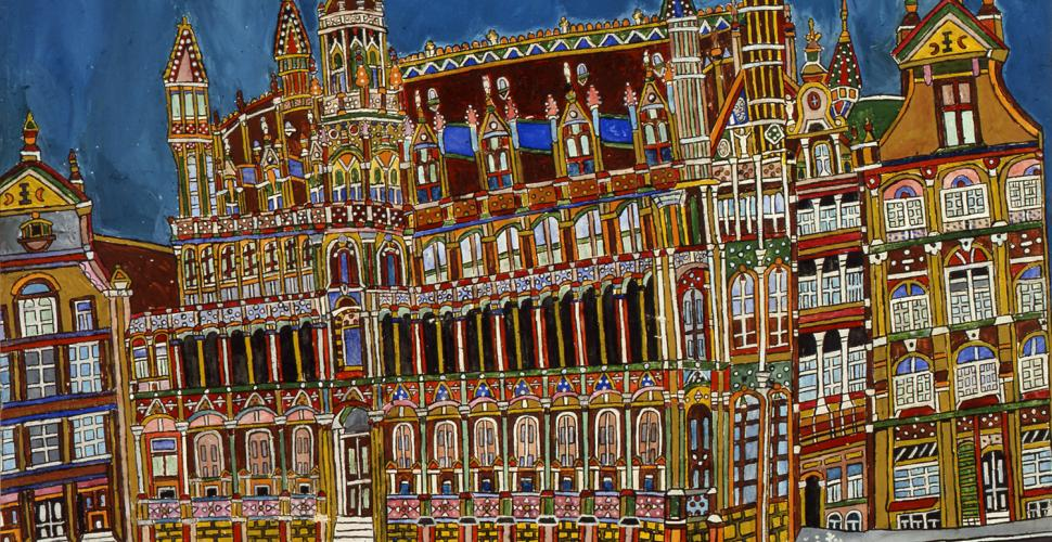Emerik Fejes, Brusselles, Old Market. Place. King's house, Tempera auf Papier, undat.