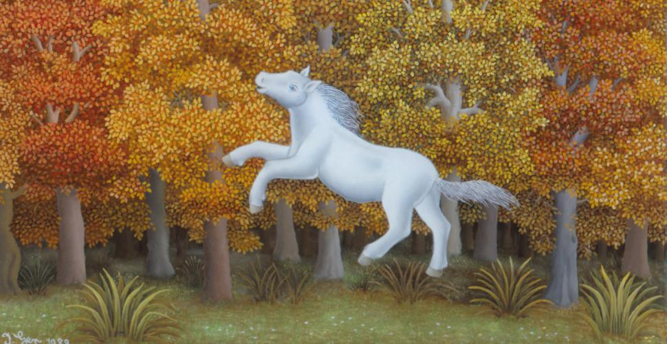 Ivan Generalic, Little Horse, Oil behind Glass, 1989