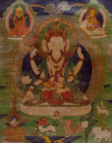 Thangka, Kaseintempera auf Leinen, 19. Jh., Tibet
