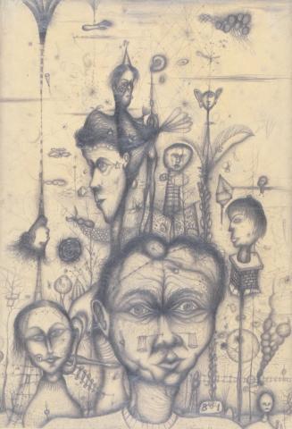 """Arnulf Rainer, """"Freunde und Bekannte"""", Bleistiftzeichnung, 1949"""