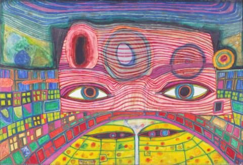 Friedensreich Hundertwasser, Das Kino, Mischtechnik auf Papier auf Leinwand, 1969
