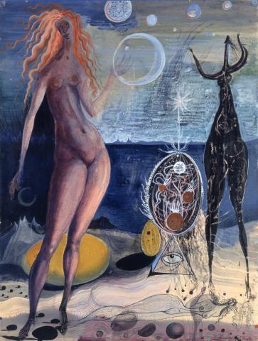 Ernst Fuchs, Weltnacht, Mischtechnik, 1947
