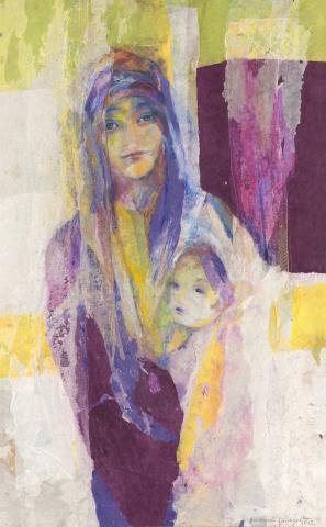 """Annemarie Baumgarten, """"Hannah und Samuel"""", Mischtechnik auf Holz, 2012"""