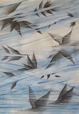 Anton Lehmden, Blauer Vogelflug, Aquarell, 2010