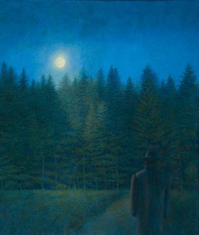 """Hanno Karlhuber, """"Des Waldes Dunkel"""", Acryl / Öl auf Hartfaser, 2010"""