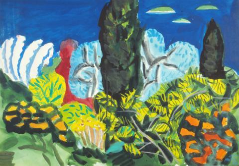 Edo Murtic, Mediterraner Garten, Aquarell, 1997