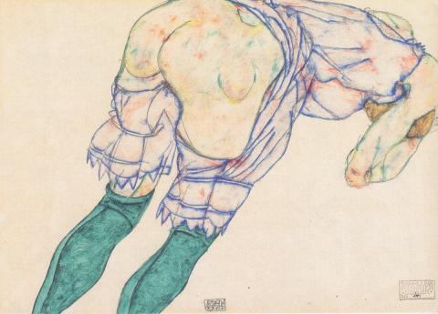 Egon Schiele, Mädchen mit grünen Strümpfen, Gouache auf Packpapier, 1914