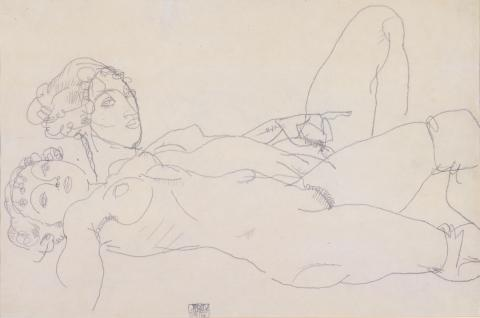 Egon Schiele, Zwei liegende Mädchenakte, Bleistiftzeichnung, 1914
