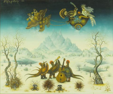 """Franjo Klopotan, """"Vogelmusikanten 1"""", Öl auf Leinen, 1993"""
