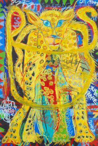 Franz Janz, Seibuli, Ölkreide auf Zeichenkarton, 2002