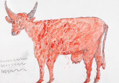 "Franz Kamlander, ""Orange Kuh"", Mischtechnik, 1987"