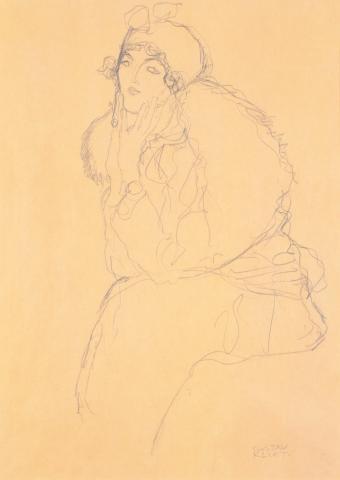 """Gustav Klimt, """"Studie zu einem Damenbildnis"""", Bleistiftzeichnung, 1915/17"""