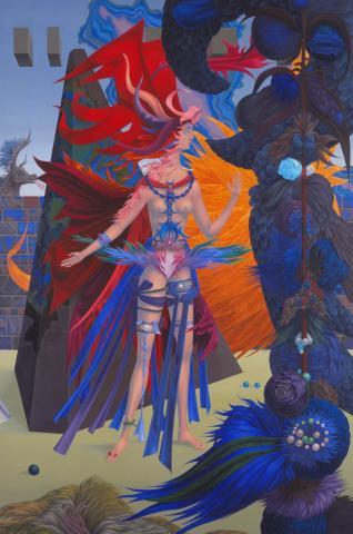 """Wolfgang Hutter, """"Die Braut des Drachen"""", Öl auf Holz, 1966/67"""