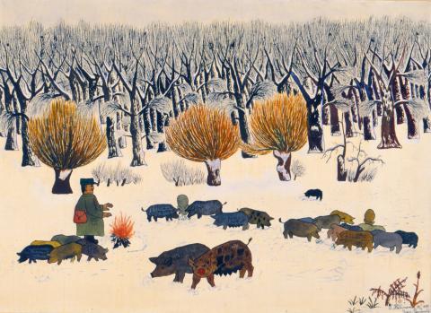 """Ivan Generalic, """"Im Garten der Schweine"""", Aquarell, 1933"""