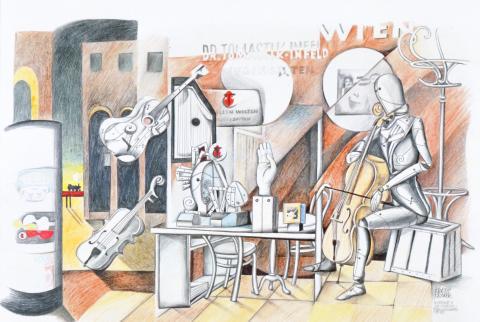 """Kurt Kramer, """"Hommage a De Chirico"""" - Frankfurter Messe, Blei- und Buntstift auf Zeichenkarton, 1977"""
