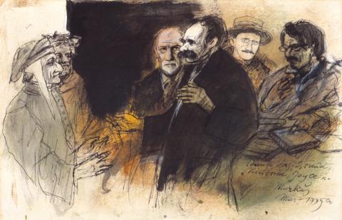 Markus Vallazza: Zur Divina Comedia: Dante, Vergil, Freud, Nietzsche, Joyce und Markus, Feder- und Pinselzeichnung farbig aquarelliert, 1995