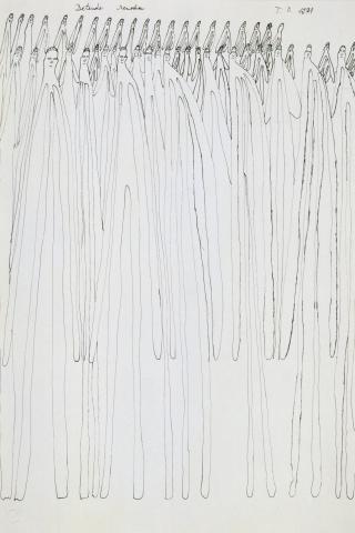 """Oswald Tschirtner, """"Bettende Menschen"""", Federzeichnung, 1974"""
