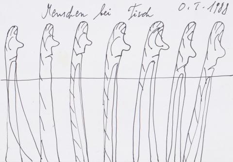 """Oswald Tschirtner, """"Menschen bei Tisch"""", Federzeichnung, 1988"""