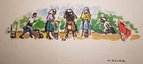Oton Gliha, Jugendarbeit, Öl auf Aquarellkarton, um 1950