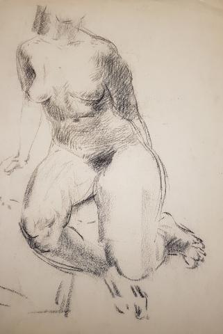 Edo Murtic, Studie - Akt sitzend, schräg von oben, Kreidezeichnung,1942