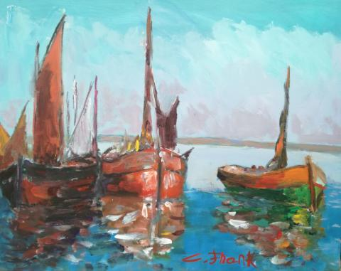 Claudio Frank, Rote Schiffe, Acryl auf Leinwand, 2018