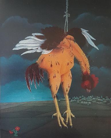 """Ivan Generalic, """"Der aufgehängte Hahn"""", Öl hinter Glas, 1959"""