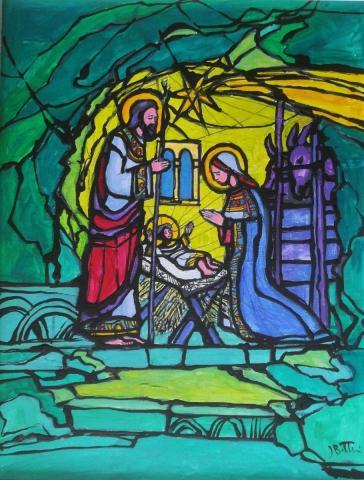 Josip Botteri Dini, Heiligabend in Bethlehem, Acryl auf Leinwand, 2014