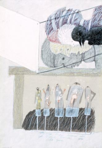 """Tone Fink, """"Puppenspiel I"""", Mischtechnik auf Karton, 1977"""
