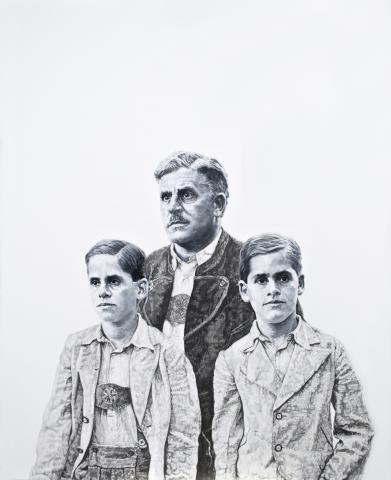 Ramona Schnekenburger, Vater mit Söhnen, Öl und Bleistift auf Leinwand, 2014