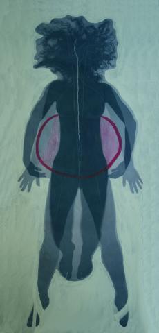 """Martina Reinhart, """"Balance"""", Lichtpause und Acrylmalerei auf Leinwand, 2012"""