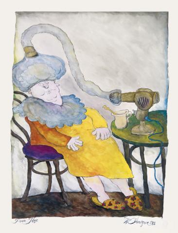 """Walter Schmögner, """"Frau Itze"""", Federzeichnung (schwarze Tusche, farbig aquarelliert), 1968"""