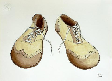 Sarah Morrissette, Clown Shoes, Tusche uns Acryl auf Papier, 2014
