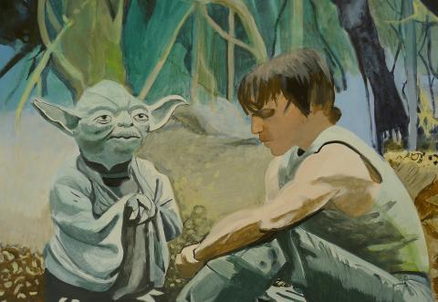 """Anne Suttner, """"Meister Yoda mit Padawan Luke Skywalker auf Dagobah: Die Macht ist stark in dir!"""",  Mischtechnik/Molino, 2017"""