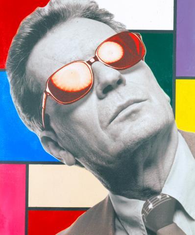 Steve Kaufman, Portrait Peter Infeld, Mischtechnik auf Leinwand, 2002