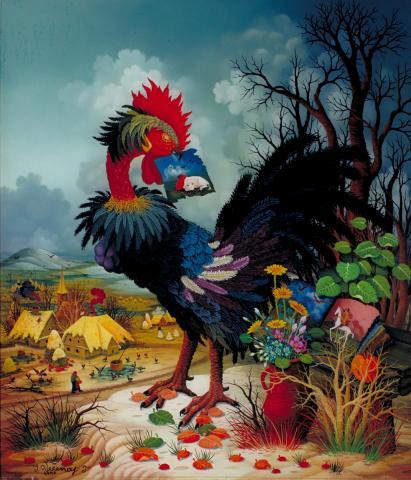 Ivan Vecenaj-Tislarov, Der Schwarze Hahn, Öl hinter Glas, 1990