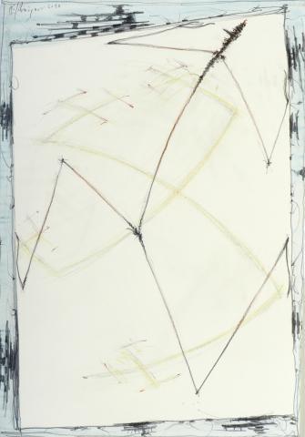 """Walter Schmögner, """"Läufer"""", Mischtechnik auf Papier, 2015"""
