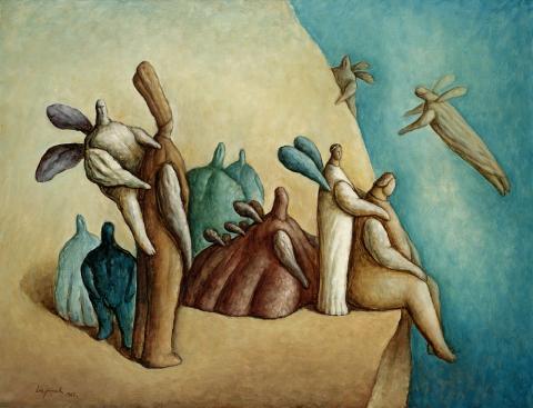 """Zeljko Lapuh, """"Die Grenze des Himmels"""", Öl auf Leinwand, 1987"""