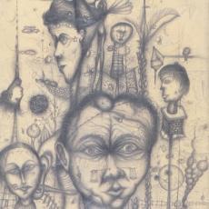Arnulf Rainer, Freunde und Bekannte, Bleistiftzeichnung, 1949
