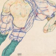 Egon Schiele, Mädchen mit grünen Strümpfen, Gouache, 1914