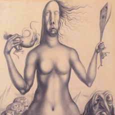 Ernst Fuchs, Gütersloh und die Muse, Bleistiftzeichnung, 1947