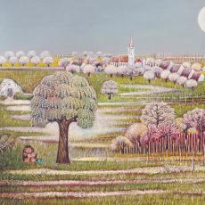 Gottfried Kumpf, Frühling im Burgenland, Öl auf Hartfaserplatte, 1976