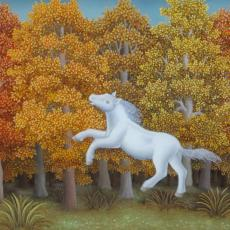 Ivan Generalic, Pferdchen, Öl hinter Glas, 1989