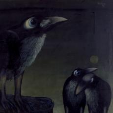 Joze Tisnikar, Drei Raben, Öl auf Leinwand, 1990