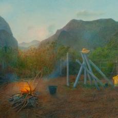 """Hanno Karlhuber, """"Das Feuer"""", Acryl/Öl auf Hartfaser, 2011"""