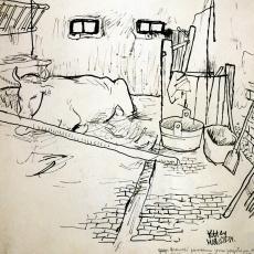 Krsto Hegedusic, Im Rinderstall, Tuschzeichnung, 1934