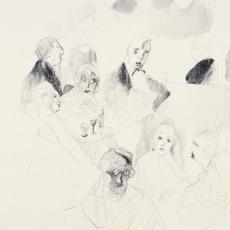 Kurt Absolon, Pariser Nachtcafe, Federzeichnung, 1957