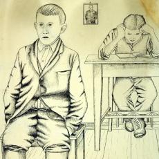 Mirko Virius, Meine Kinder, Federzeichnung, 1936