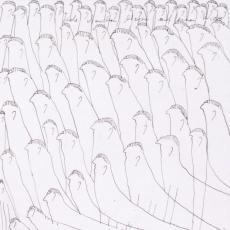 Oswald Tschirtner, Viele Menschen liegen auf der Wiese, Federzeichnung, 1972