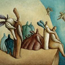 "Zeljko Lapuh, ""Am Rand des Himmels"", Öl auf Leinwand, 1987"